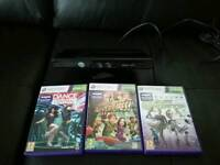 Xbox 360 Kinect with 3 games which include Dance central Kinect adventures Kinect sports
