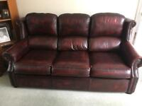Three Piece Suite Red Leather Chesterfield