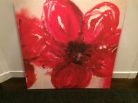 Large IKEA red floral print, red fabric storage box and nik naks