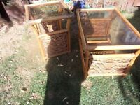 TWO WICKER CANE GLASS TOPPED TABLES-USED