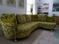 Large L shaped DFS contemporary sofa with two coordinating armchairs