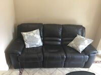 Brown leather electric recliner 3 seater sofa