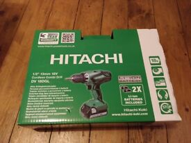 BRAND NEW: Hitachi DV18DGL/JF 18V Li-ion Cordless Combi Drill with 2 x 2.5Ah Batteries