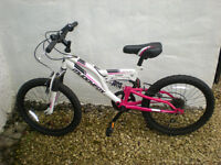 """Girls Muddy Fox bicycle, 20 """" frame, suitable 7 -10 years, white/pink, hardly used, as new"""