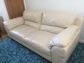 Cream Italian Leather Sofa (3 seater, 2 seater & Pouffe)