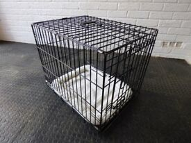 Folding Metal Pet Carry Crate with furry bedding and opening doors in excellent condition