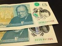 AK56 and AK58 Serial New £5 notes