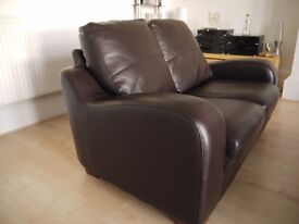 2 seater brown leather sofa, very good condition, hardly used