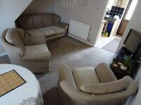 Beautiful Fabric 3 Seater Sofa and 2 Armchairs - Cream Colour