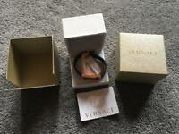 Versace bracelet leather black & gold original one unisex used few times ex condition £120