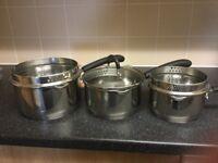 Set of three Procook Gourmet Saucepans
