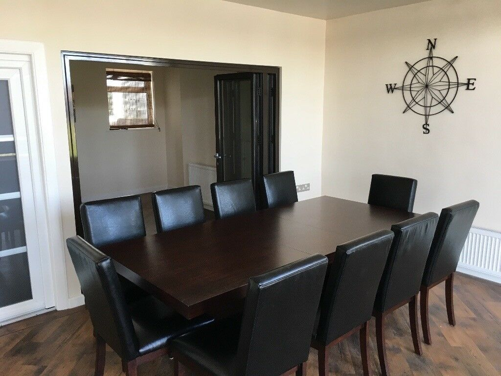 Large Solid Heavy Wood Expensive Dining Room Table And 10