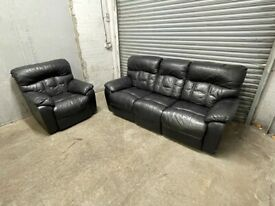 FREE DELIVERY REAL LEATHER BLACK RECLINER SOFA & AMRCHAIR GOOD CONDITION