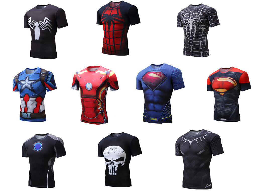 Marvel Mens Compression T-shirt Superhero Short Sleeves Tops Cycling Panther