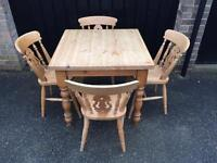 Solid pine table and chairs (delivery available)