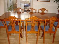 Stunning 8-piece Yew table and chair set including side cabinet