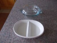 Pyrex dish with lid and other oven proof dish very good condition