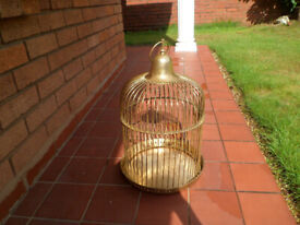 BRASS BIRD GAGE PLANTER WITH DOOR RING TO HANG GAGE
