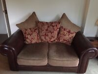 2 X TWO SEATER LEATHER/MATERIAL SOFA'S