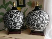 Ornamental ceramic lamps.