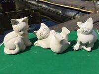 3 Cats Kittens Outdoor Indoor Garden Stone Concrete Cast Statue Cat Kitten