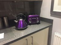 Purple Morphy Richards kettle and toaster