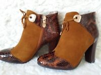 NEW stunning BROWN real leather ankle shoes/boots SIZE 4.5-5