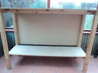 BENCH FOR TURNTABLES AND MIXER - PURPOSE MADE - SOLID WOOD AND MDF