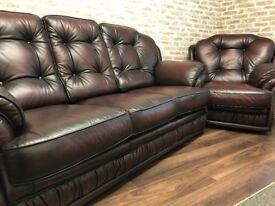 Oxblood Chesterfield Traditional Sofa & Chair