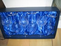Stunning Set of 6 Bohemia Crystal Wine Glasses. New Boxed