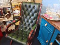 Beautiful Green Leather Slipper Chair