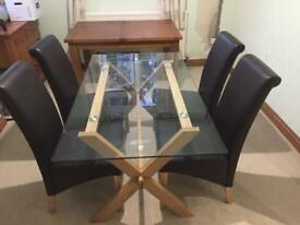 Next oak and glass dining room table
