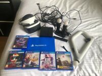 PlayStation 4 VR Headset, Aim Controller, 5 Games, Camera,, Move Controllers etc.,