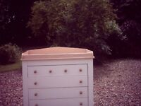 Chest of drawers with shelf which is used for baby changing