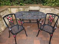Cast Aluminium table & 2 chairs Ellister & Stamford