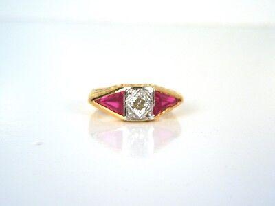Antique Art Deco 18kt Yellow Gold Diamond Ruby Ring - GAL Appraisal- Gift Box