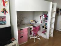 Ikea Stuva captains bunk in white and pink