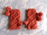 Women's Knitted Fingerless Gloves with Pom Poms