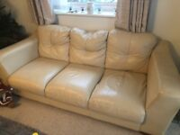 3 seater Cream sofa- free to collector
