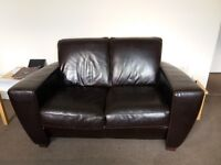 Gumtree Bargain Hunters Pay Attention! 2 Seater Leather Sofa in Dark Brown - Genuine Leather