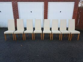 8 Cream Leather High Back Leather Chairs FREE DELIVERY 543