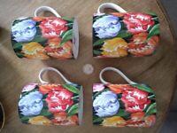 Four Vintage Queens bone china mugs