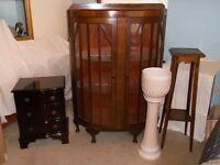 DISPLAY CABINET - PLANT STAND - JARDINIERE AND CHEST OF DRAWERS.