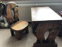 Children's wooden desk and chair - cat shape - solid wood