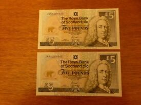 2005 ROYAL BANK OF SCOTLAND PLC 2 x £5 UNCIRCULATED BANKNOTES, JWN1281659 & 1281660 - NEW
