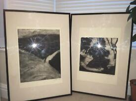 Etchings of cross section landscapes