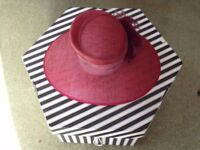 Elegant Plum Red 'Mother of the Bride' hat in box