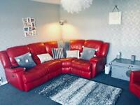 Red leather electric recliner sofa couch & swivel chair DFS