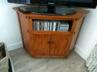 Corner TV cabinet unit solid wood