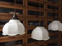5 Opaline Milk Glass Art Deco Church Vintage Antique Industrial Light Lights Ceiling